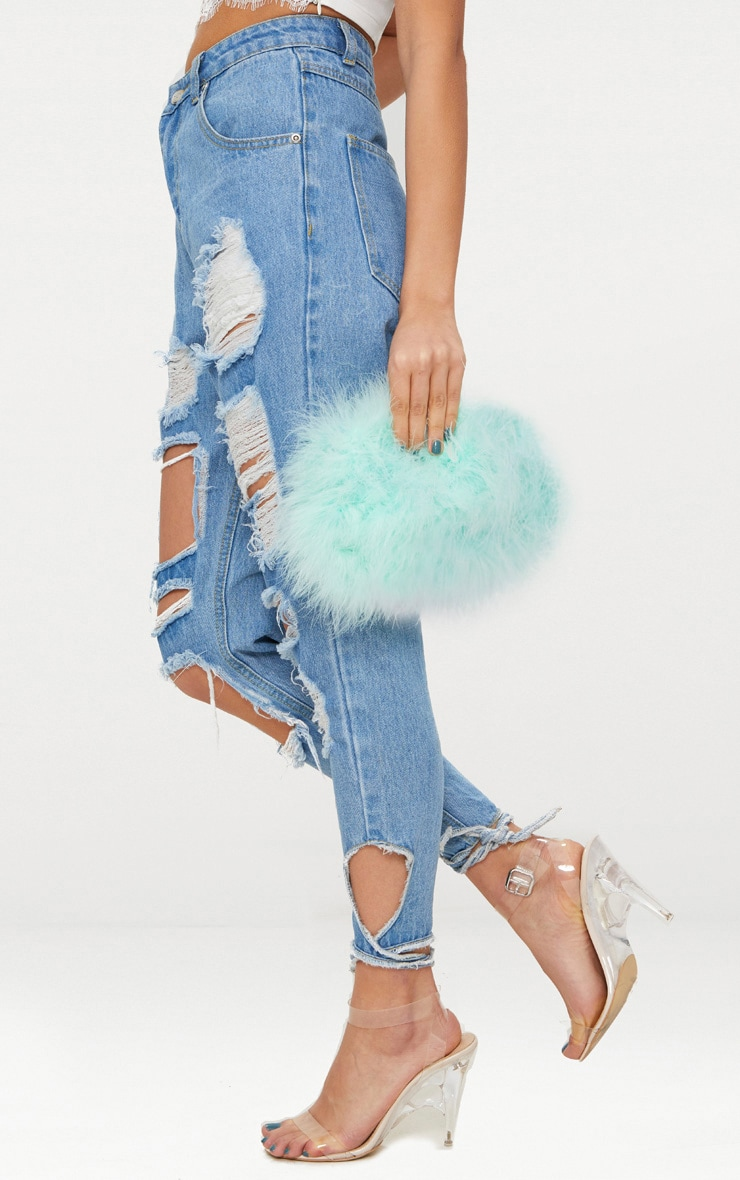 Mint Marabou Feather Clutch Bag 2