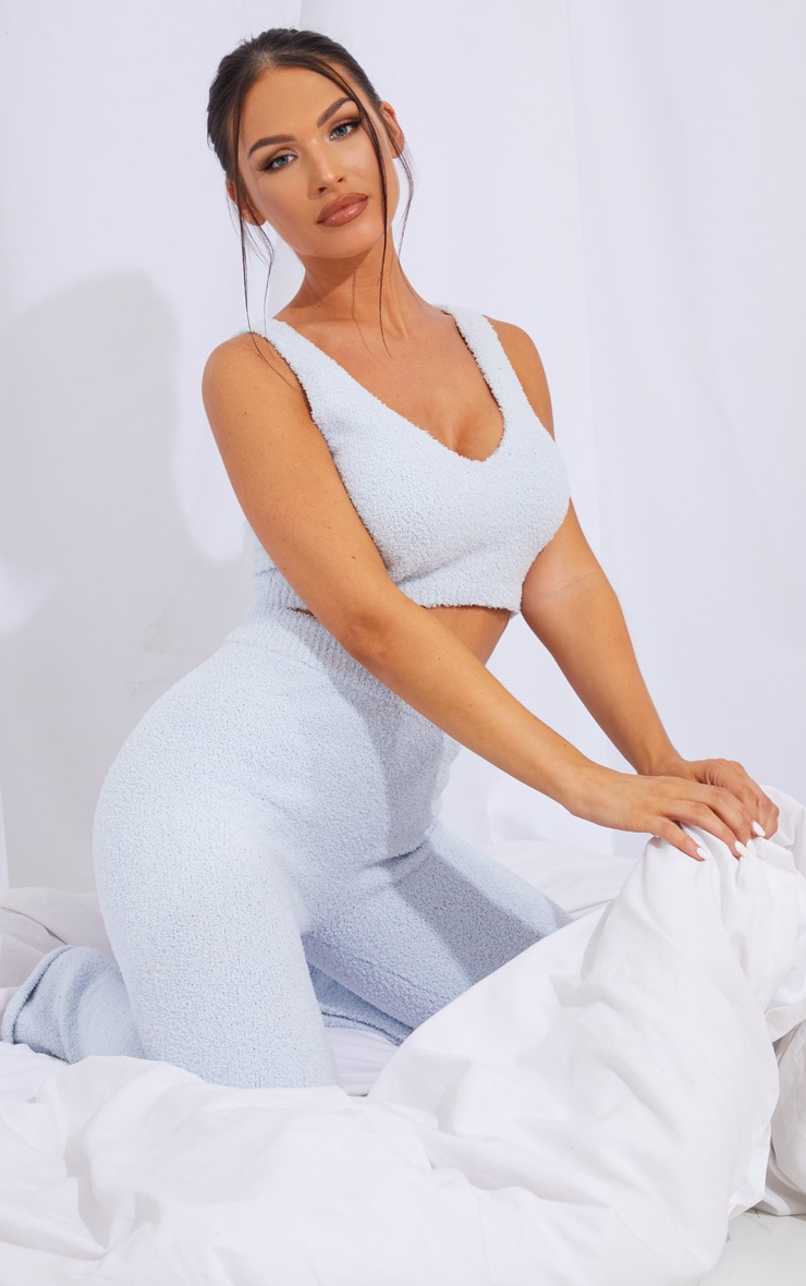 Baby Blue Chenille Bralet And Wide Leg Pant Lounge Set 1