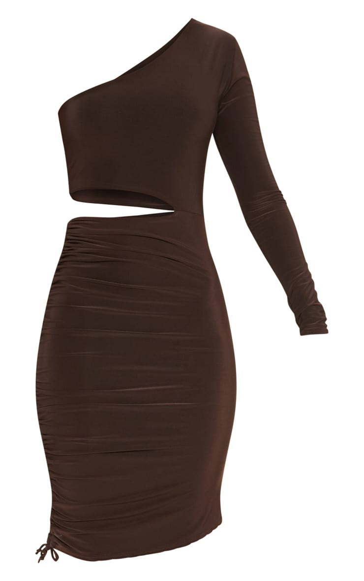 Chocolate Brown Slinky Cut Out Ruched One Sleeve Bodycon Dress 3