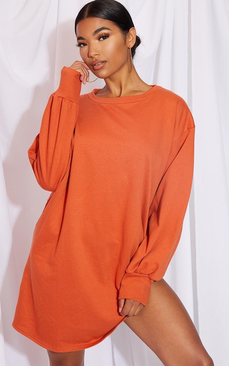Burnt Orange Oversized Sweater Dress 1