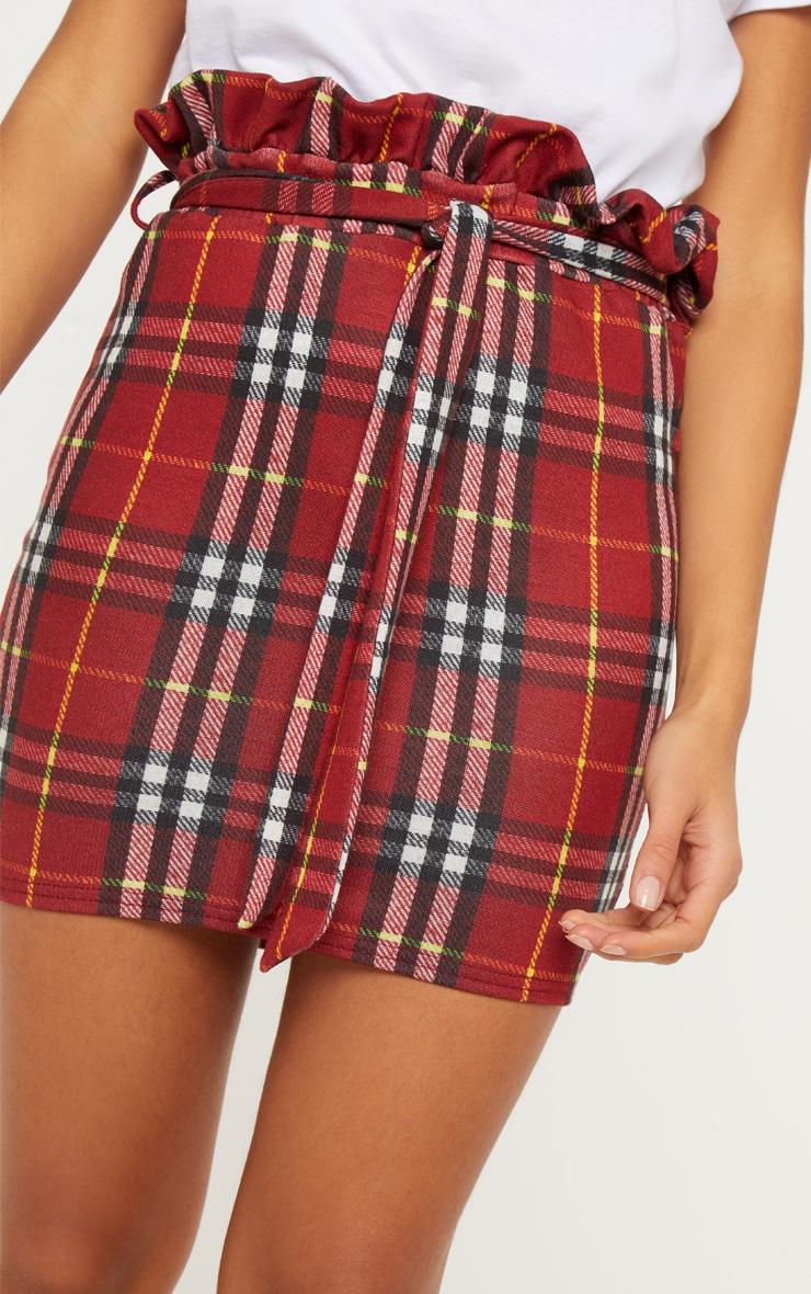 Red Check Paperbag Waist Printed Mini Skirt 6