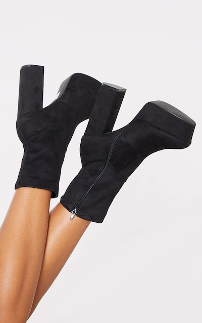 Black Faux Suede High Double Platform Ankle Boots