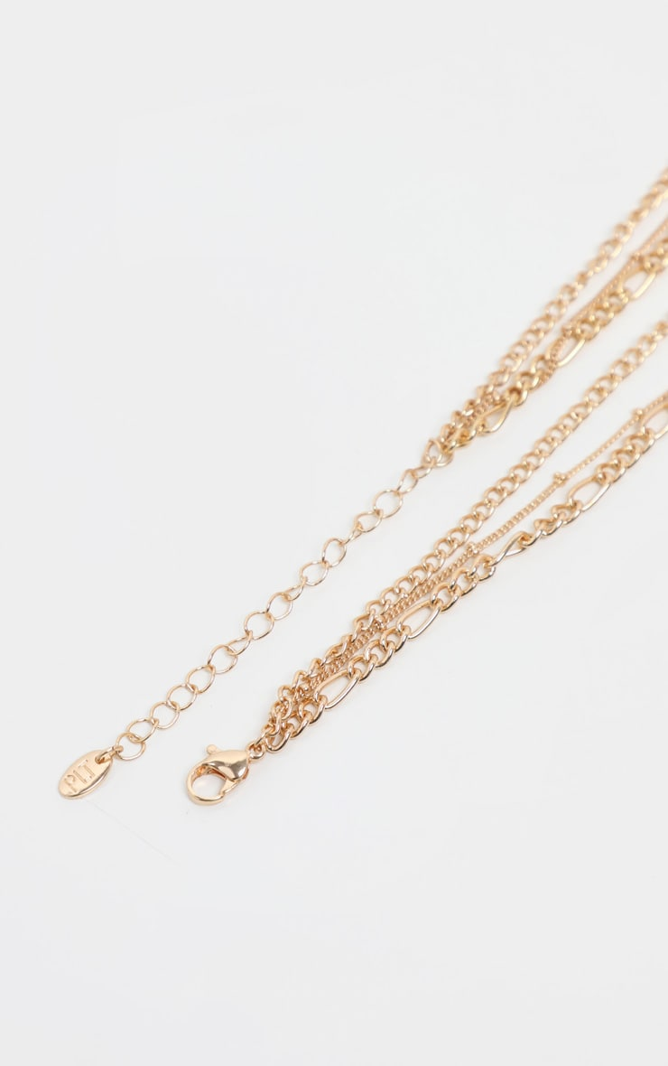 Gold T Bar And Disc Multi-Layer Necklace 4