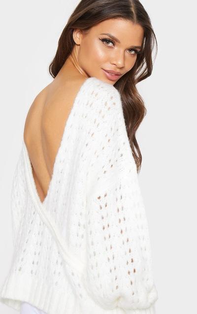 2a4d7a4402 Cream Laguna Open Back Knitted Jumper