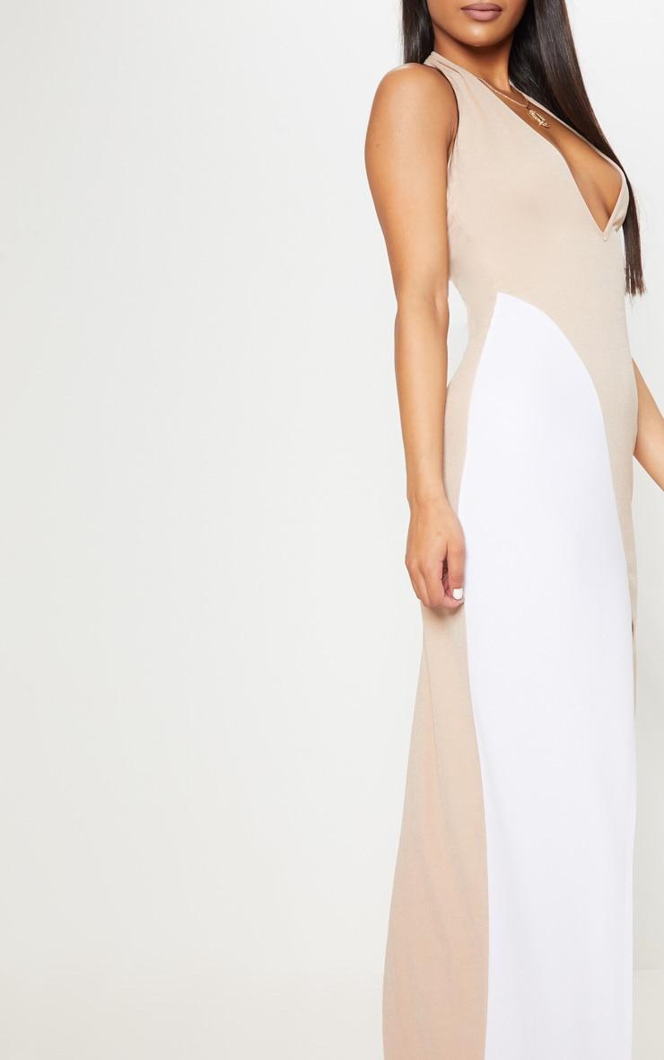 Nude Contrast Panel Extreme Split Maxi Dress 5