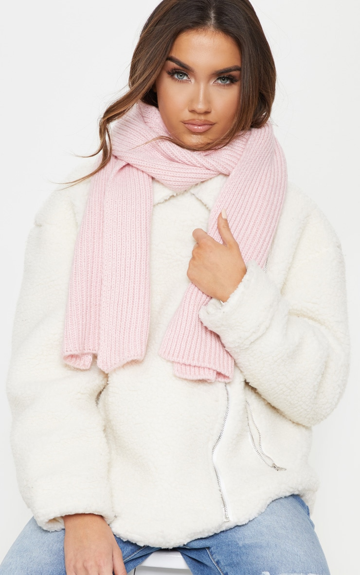 Pink Ribbed Knit Scarf 1