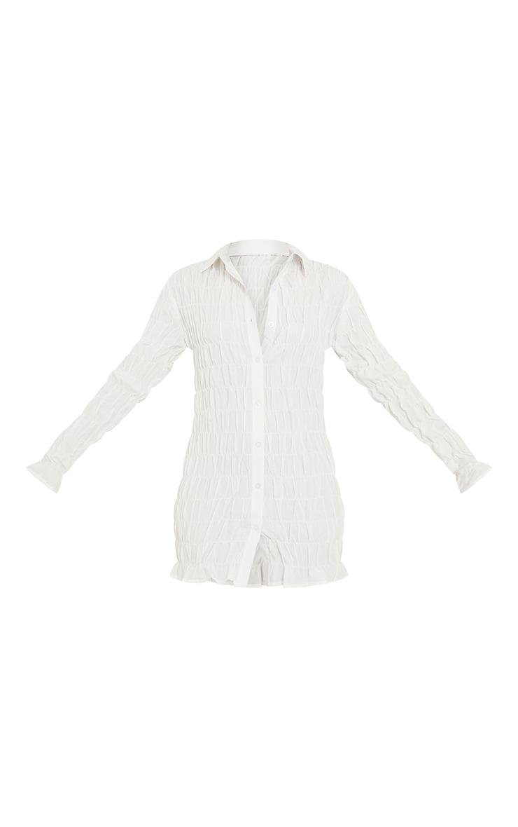 White Shirred Ruched Button Down Shirt Dress 5