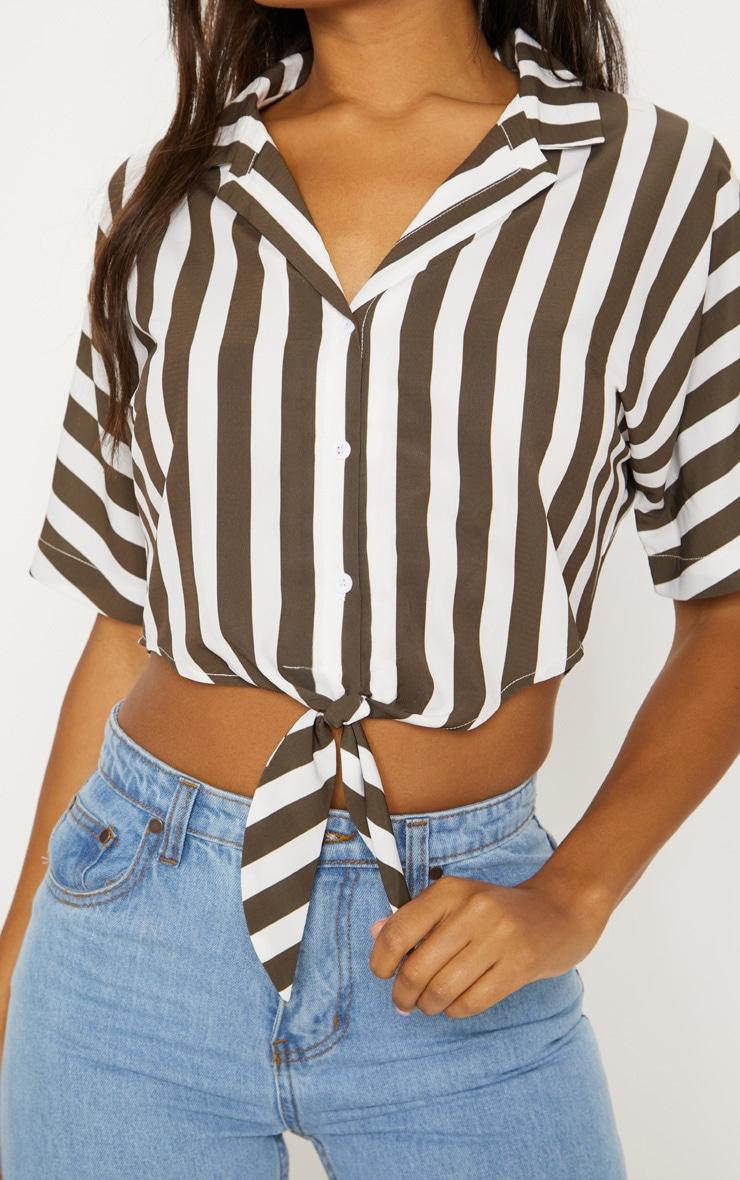 Khaki Stripe Short Sleeve Crop Tie Shirt 5