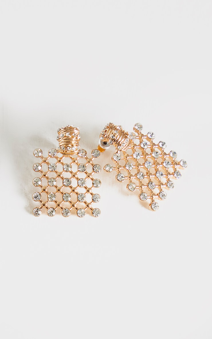 Gold Square Chain Mail Diamante Stud Earrings 3