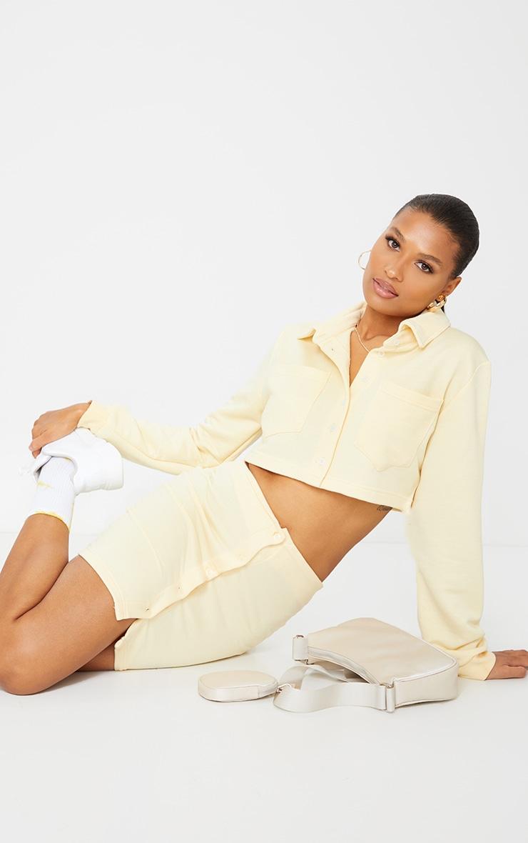 Cream Button Front Sweat Mini Skirt 1