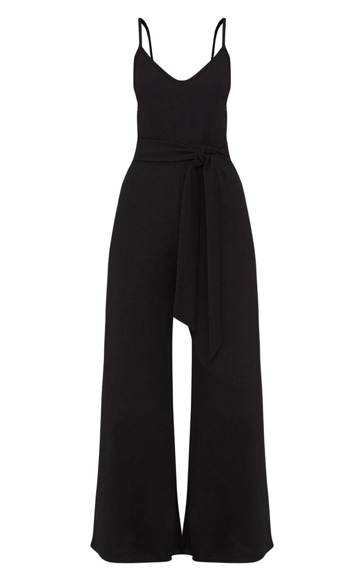 Petite Black Tie Waist Wide Leg Jumpsuit 3