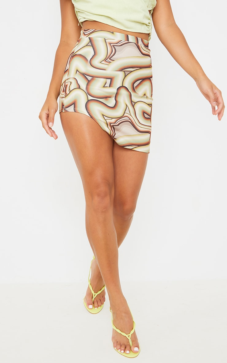 Petite Brown Swirl Print Cut Out Side Skirt 2