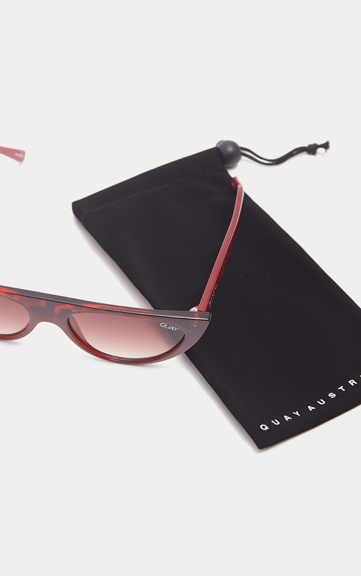QUAY AUSTRALIA Red Black Runaway Half Frame Sunglasses 4