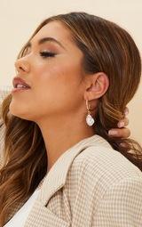 Gold Pearl Drop Hoop Earrings 2