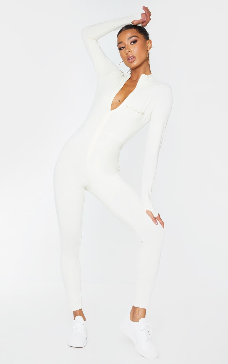 PRETTYLITTLETHING Cream Embroidered Zip Front Catsuit 3