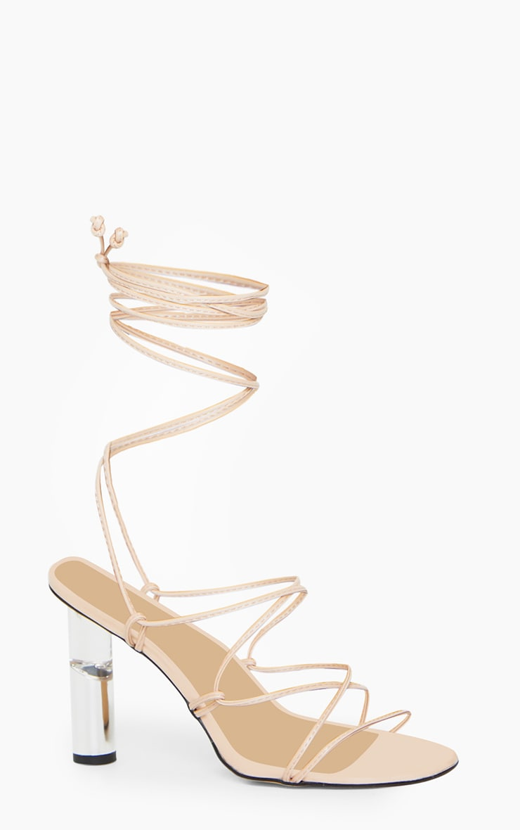 Nude Clear Cylinder Heel Ghillie Lace Up Sandal 3