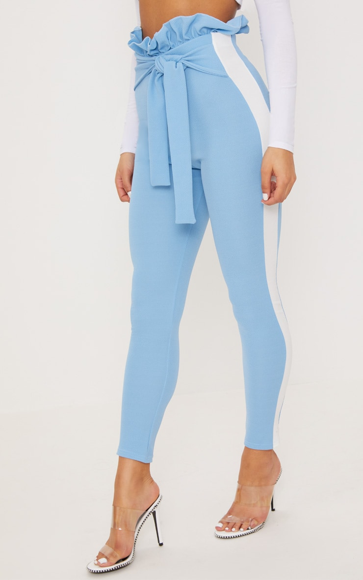 Blue Side Stripe Paperbag Skinny Pants 2