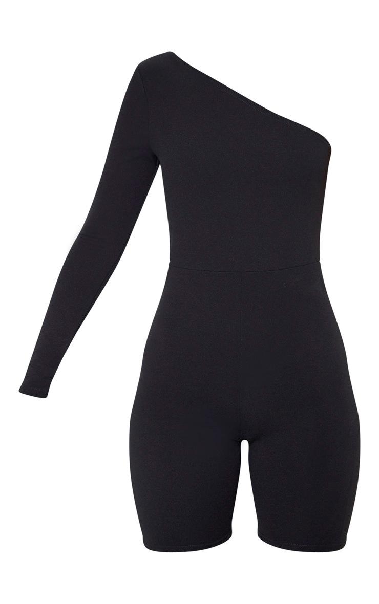 Black Long Sleeve One Shoulder Unitard 3