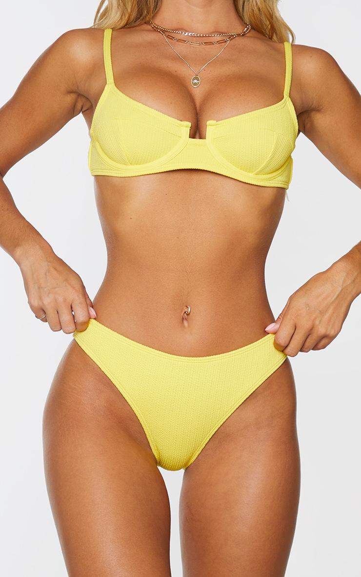 Yellow Mini Crinkle Bikini Bottom 1