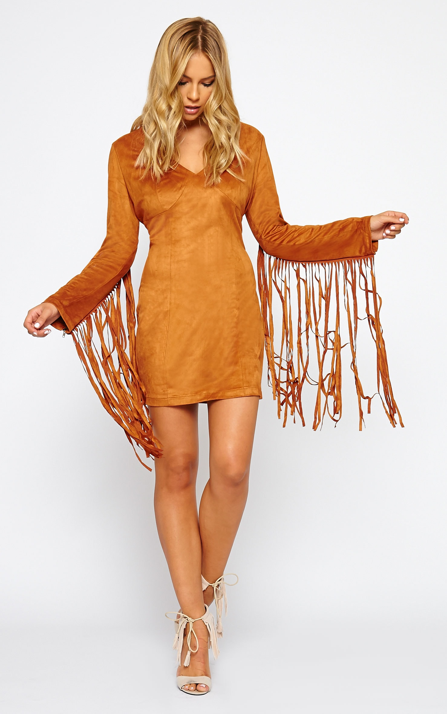 Nexie Tan Suede Fringe Mini Dress 3