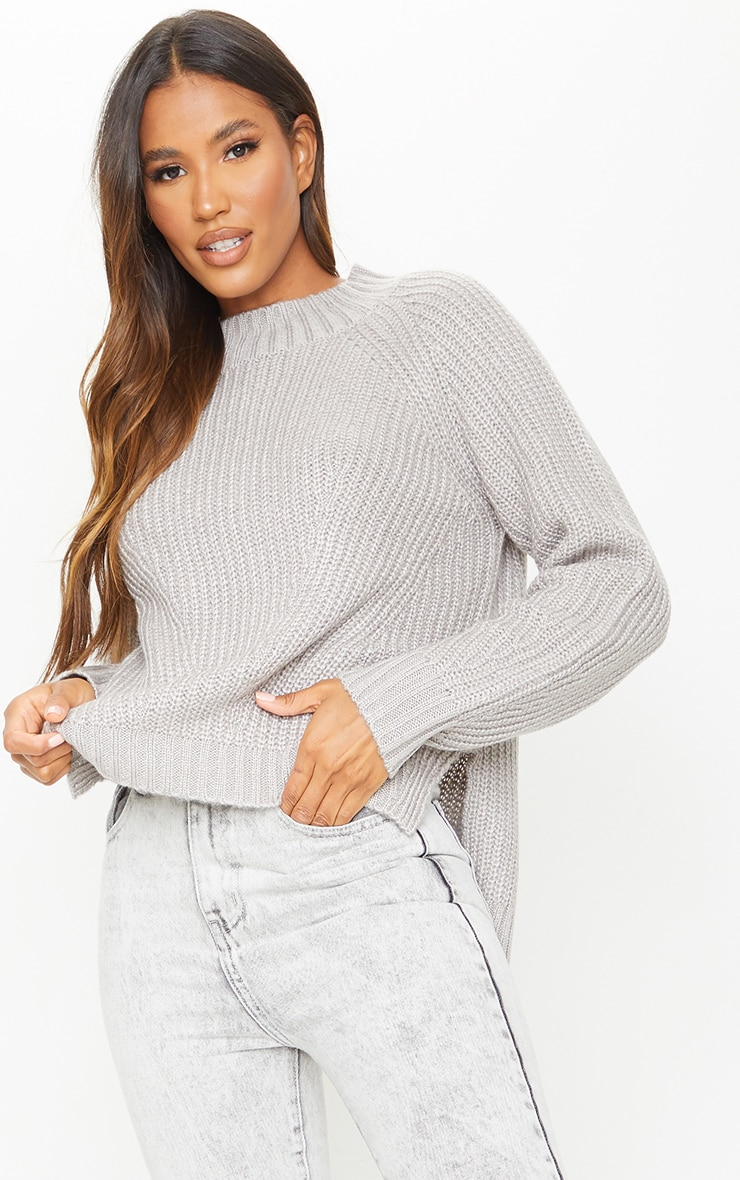 Grey Soft Knit Balloon Sleeve Funnel Neck Sweater 3
