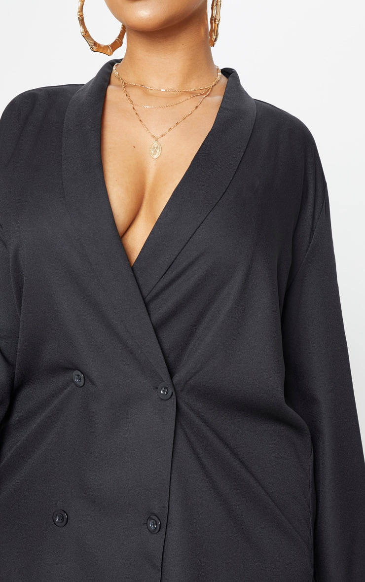 Plus Black Oversized Blazer Dress 5