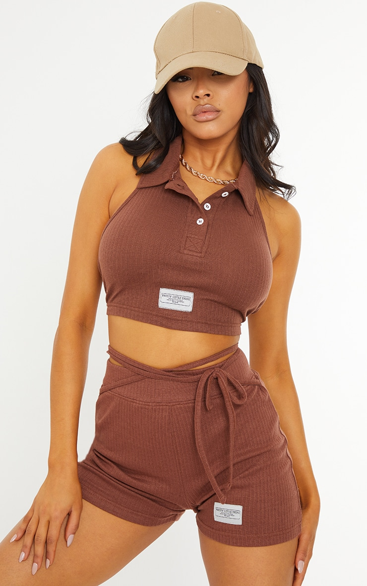 PRETTYLITTLETHING Chocolate Badge Rib Tie Waist Detail Hot Pants 4