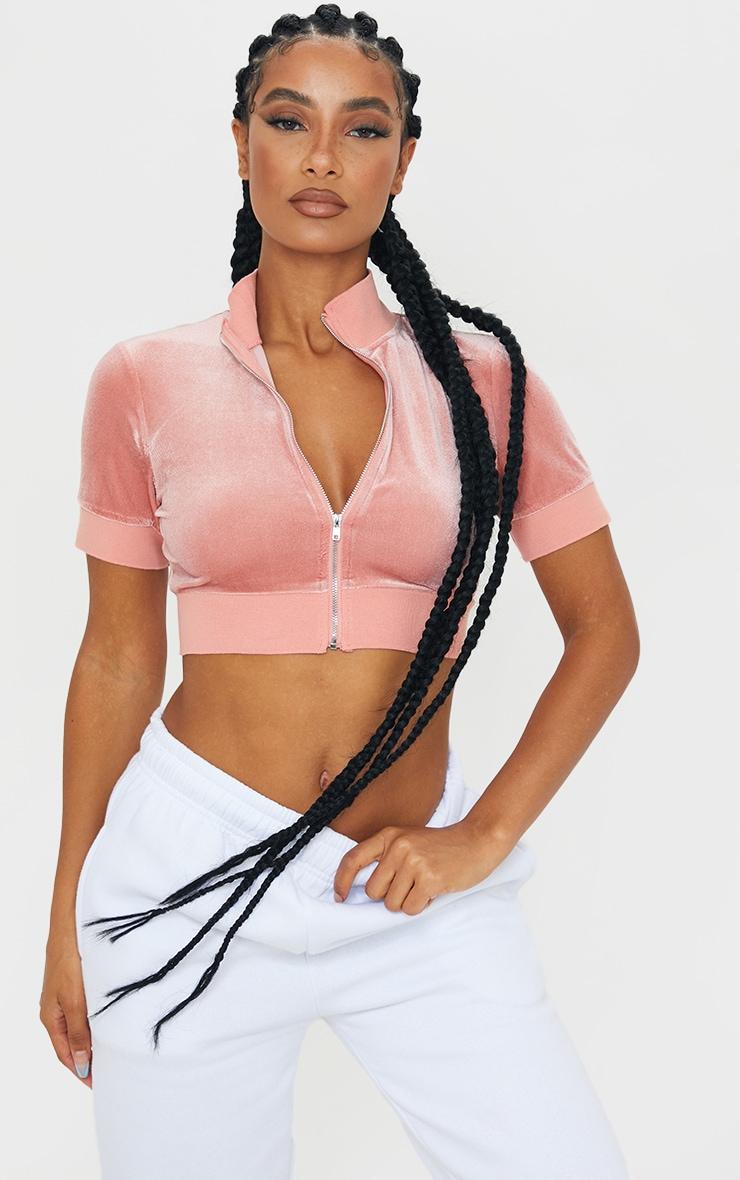 Pink Velour Band Zip Up Crop Top 1