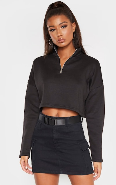 Black Zip Up Crop Sweater