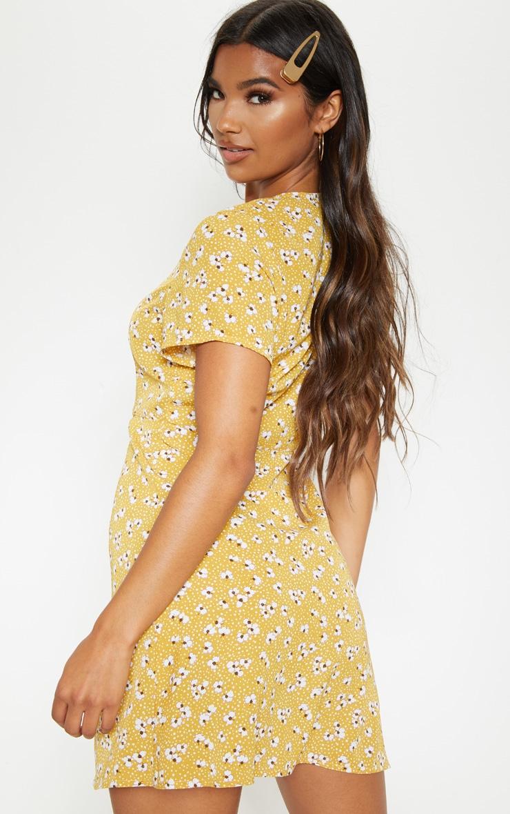 Mustard Ditsy Floral Button Through Tea Dress 2