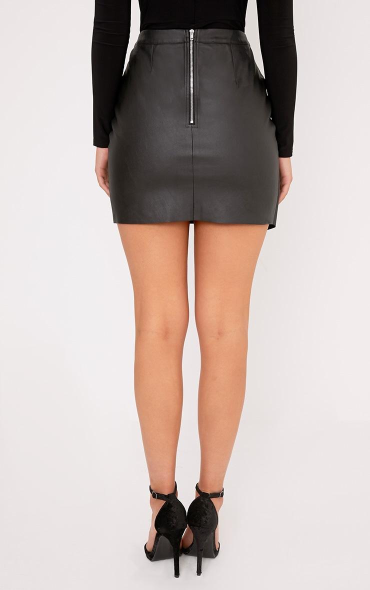 Luisa Black Faux Leather Wrap Mini Skirt  4