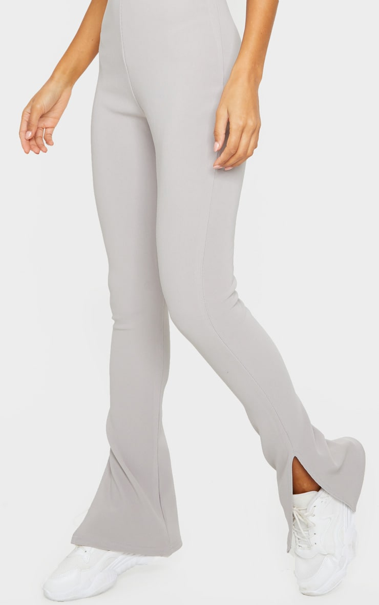 Grey Thick Rib Strappy Split Hem Jumpsuit 4