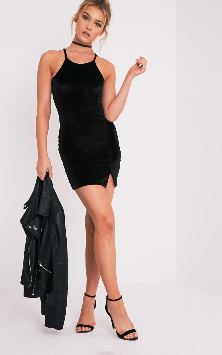 Aniqah robe moulante noire en velours à détail fendu 5