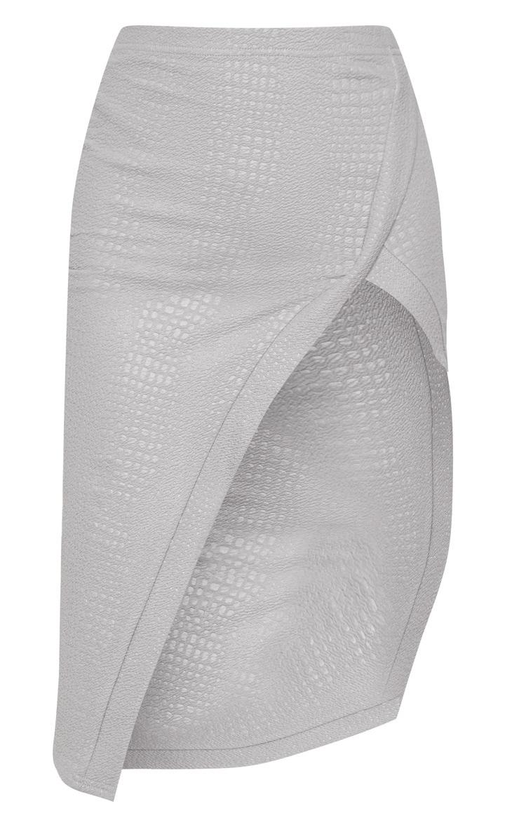 Grey Embossed Croc Extreme Split Midi Skirt  3