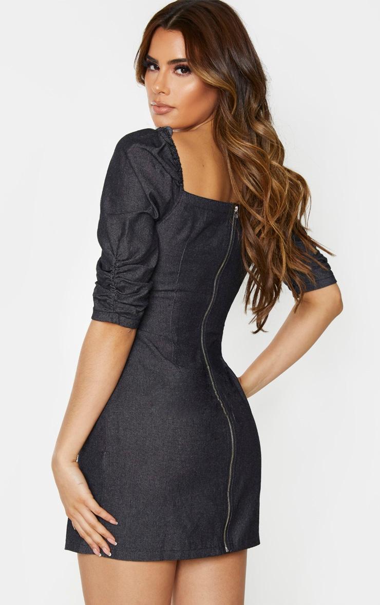 Tall Black Denim Puff Sleeve Mini Dress 3
