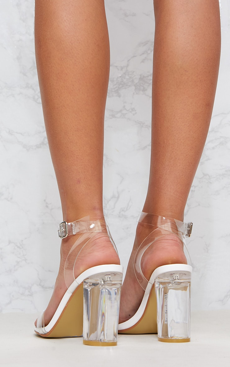 White Clear Block Heel Sandal 4