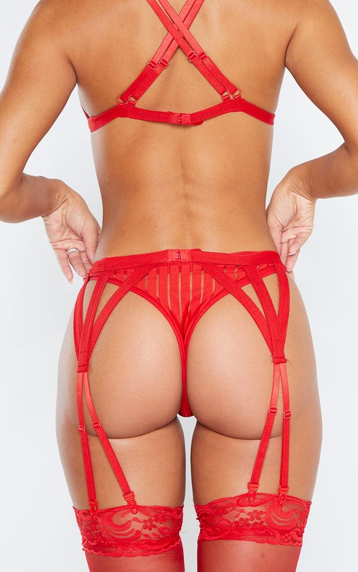 Red Stripe Mesh Thong 3