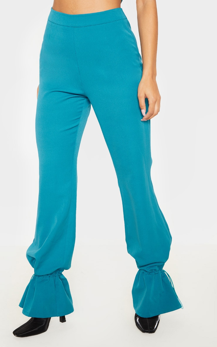 Teal Woven Toggle Cuffed Straight Leg Trouser 2