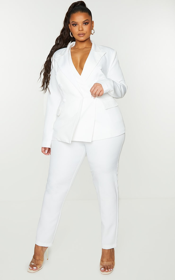Plus White Shoulder Pad Fitted Blazer 3
