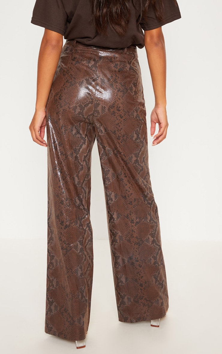 Dark Brown Faux Leather Snakeskin Wide Leg Pants 4