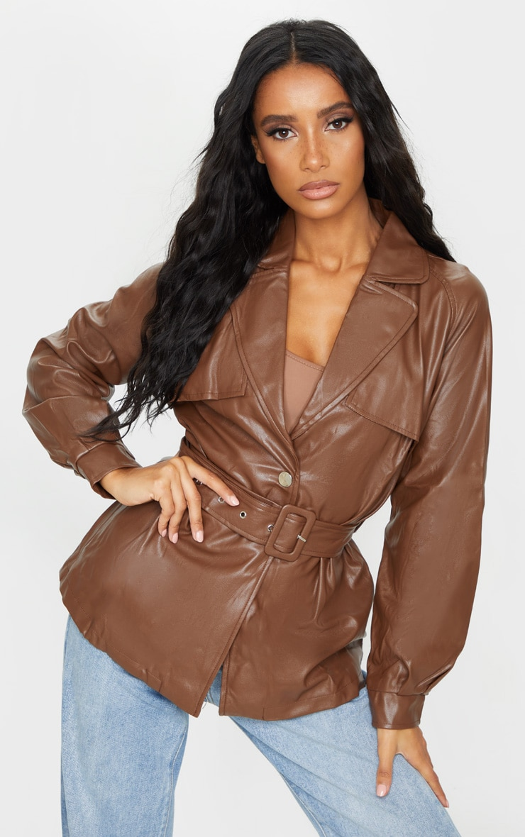 Chocolate Pu Trenched Panelled Belted Blazer 1
