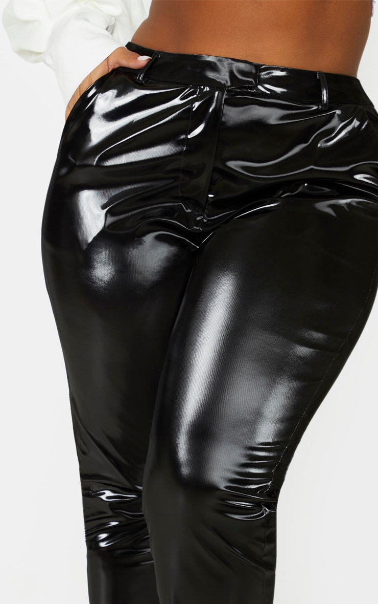 Plus Black Vinyl Skinny Trousers 5
