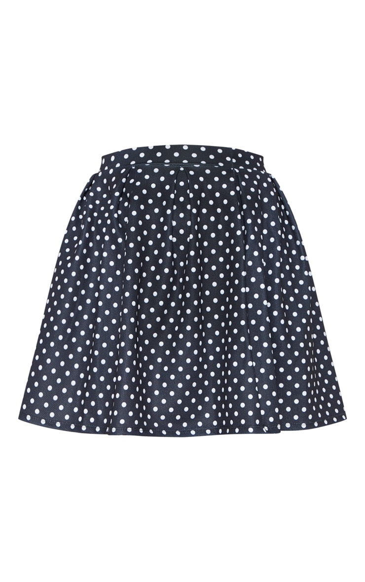 Black Polka Dot Print Pleated Waist Mini Skirt 3