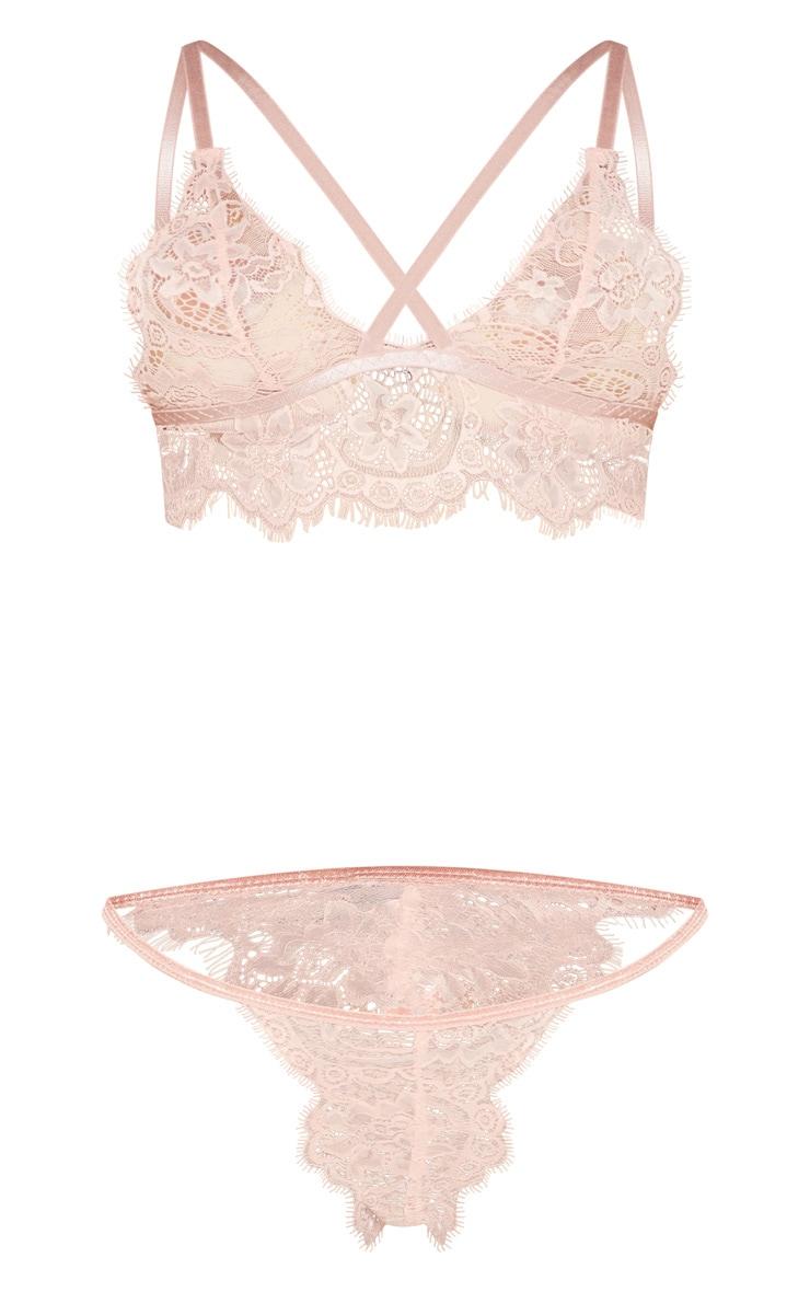 Blush Pink Longline Lace Lingerie Set 3
