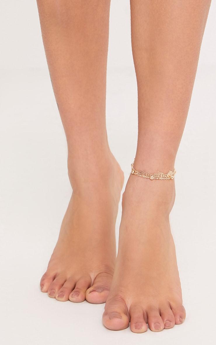Nichelle Gold Hand Drop Anklet 1