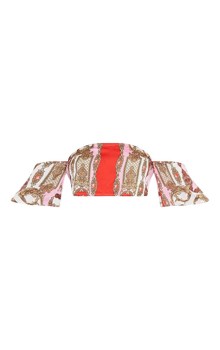 Leonre Pink Scarf Print Bardot Crop Top 3