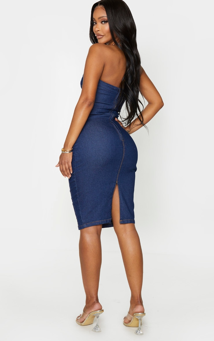 Shape Dark Wash Denim Curved Bust Midi Dress 2