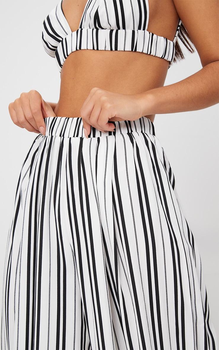 White Formal Stripe Wide Leg Trouser  5