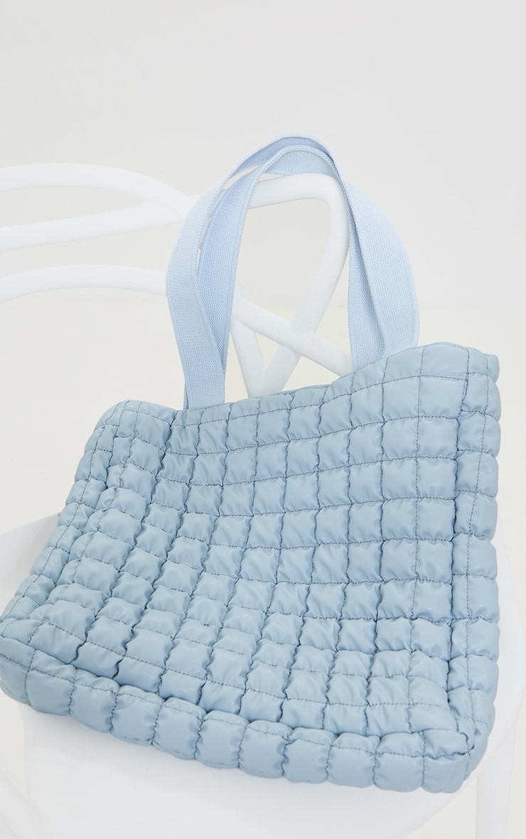 Baby Blue Square Quilted Tote Bag 2