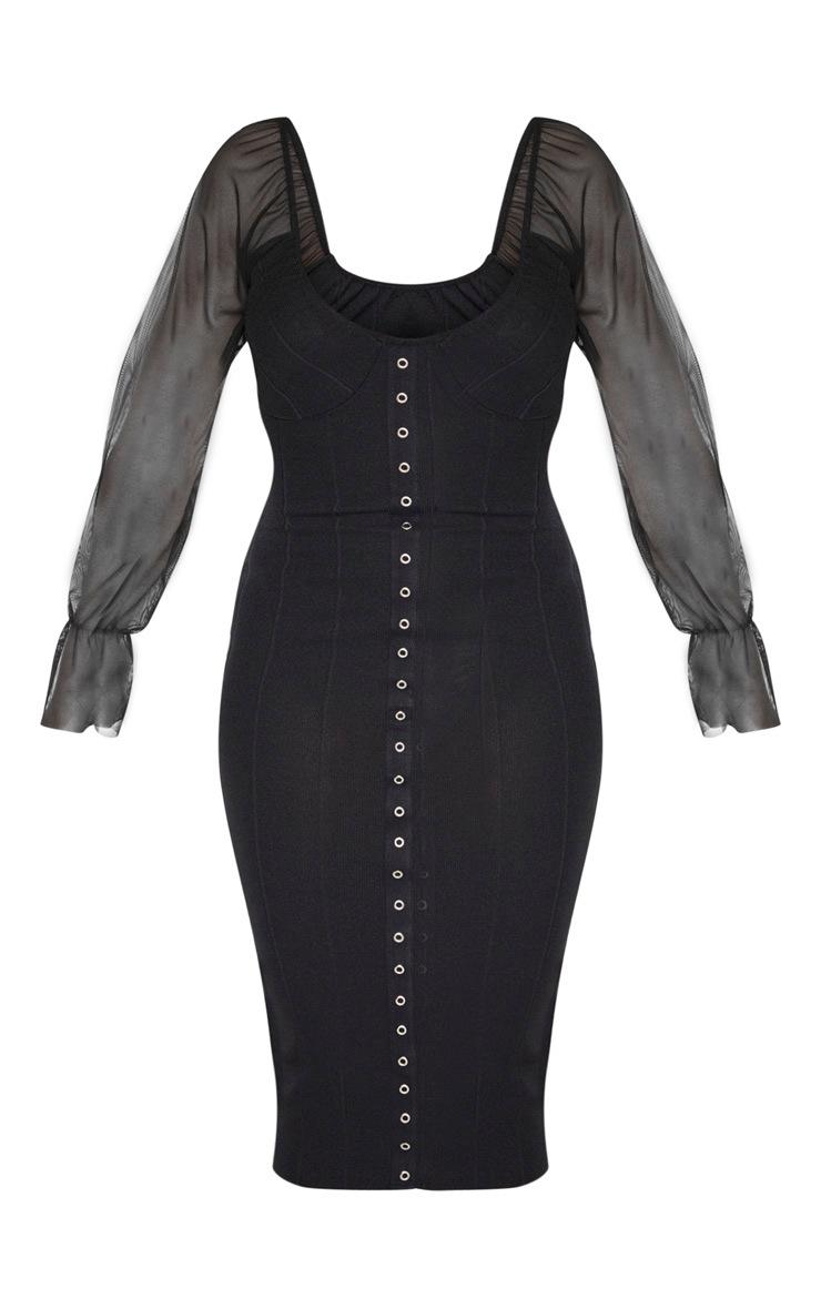 Black Hook and Eye Mesh Sleeve Midi Dress 3